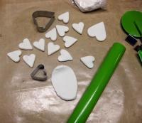 encaustic canvas- love clay hearts